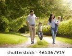 family going for walk in summer ... | Shutterstock . vector #465367919