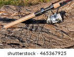 fishing rod with fishing reel... | Shutterstock . vector #465367925