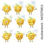 set of cartoon yellow pepper... | Shutterstock .eps vector #465370811