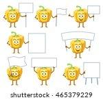 set of cartoon yellow pepper... | Shutterstock .eps vector #465379229