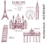 collection of europe detailed... | Shutterstock .eps vector #465381869