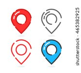 set of colored linear map pins. ... | Shutterstock .eps vector #465382925