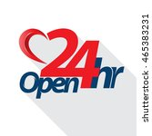 open 24 hr heart style. vector... | Shutterstock .eps vector #465383231