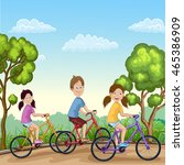 cute boy and girls riding his... | Shutterstock . vector #465386909