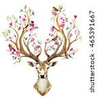 Stock vector watercolor vector illustration isolated deer big antlers flowers and birds on the horns 465391667