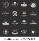 vintage restaurant logos design ... | Shutterstock .eps vector #465397301