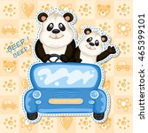 daddy and baby panda in a blue... | Shutterstock . vector #465399101