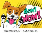 Stock vector bow wow pop art dog funny happy surprised dog with open mouth rising his paws up vector 465423341