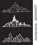 city skylines in cartoon doodle ... | Shutterstock .eps vector #465459377