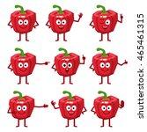 set of cartoon red pepper... | Shutterstock .eps vector #465461315