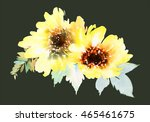 Watercolor Sunflowers. Postcar...