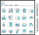 bakery line icons set.color... | Shutterstock .eps vector #465469571
