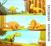dinosaurs in prehistoric...   Shutterstock .eps vector #465482261