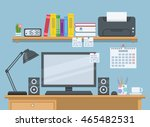 workspace for freelancer in... | Shutterstock .eps vector #465482531