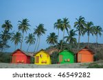 Colour Huts At The Sea Coast