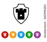 web line icon. shield. | Shutterstock .eps vector #465496301