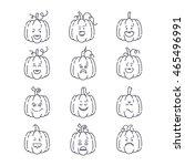 vector halloween pumpkin linear ...   Shutterstock .eps vector #465496991