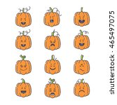 vector halloween pumpkin linear ...   Shutterstock .eps vector #465497075