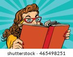 young lady reading a book  pop... | Shutterstock .eps vector #465498251