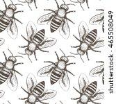 bees seamless vector pattern.... | Shutterstock .eps vector #465508049