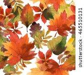 watercolor autumn seamless... | Shutterstock . vector #465510131