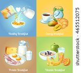 four breakfast compositions or... | Shutterstock .eps vector #465512075
