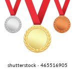 set of three medals isolated on ... | Shutterstock . vector #465516905