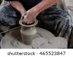 men's hands. potter at work.... | Shutterstock . vector #465523847