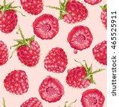 vector raspberry seamless... | Shutterstock .eps vector #465525911
