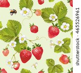 vector strawberry seamless... | Shutterstock .eps vector #465526961