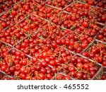 This is a background shot of many, many cherries. - stock photo