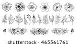 set of hand drawn flowers and... | Shutterstock .eps vector #465561761