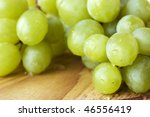 wet green grapes in close up on ... | Shutterstock . vector #46556419