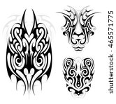 tribal art tattoo set in maori... | Shutterstock .eps vector #465571775