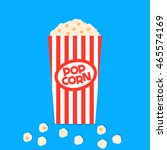 popcorn in red box isolated on... | Shutterstock .eps vector #465574169
