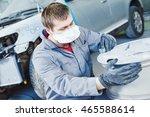 repair mechanic worker with... | Shutterstock . vector #465588614