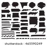 set of black marker stripes ... | Shutterstock .eps vector #465590249