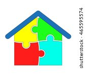house puzzle  vector icon  eps10 | Shutterstock .eps vector #465595574