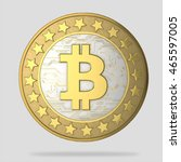 bitcoins isolated on white  3d... | Shutterstock . vector #465597005