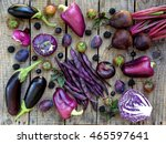 purple vegetables and fruits on ... | Shutterstock . vector #465597641