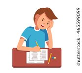 stressed school student filling ... | Shutterstock .eps vector #465599099