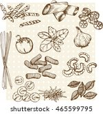 vector hand drawn ink pasta set ... | Shutterstock .eps vector #465599795