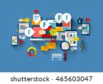 one page web banner flat line... | Shutterstock .eps vector #465603047