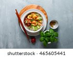 shrimps in curry sauce and rice ... | Shutterstock . vector #465605441