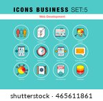 flat line icons set with flat... | Shutterstock .eps vector #465611861