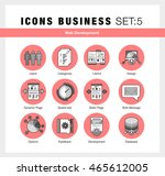 flat line icons set with flat...