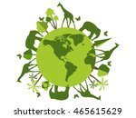 Animals on the planet, animal shelter, wildlife sanctuary. World Environment Day. Vector illustration. | Shutterstock vector #465615629
