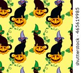 seamless pattern with black cat ... | Shutterstock .eps vector #465619985