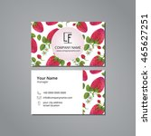 vector visit card strawberry... | Shutterstock .eps vector #465627251