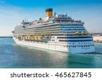 Small photo of ROME, ITALY - JUNE 10,2016: Passengers aboard the Costa Diadema cruise ship gather on deck for the departure from the port of Rome, Italy.